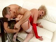 Perverted Granny Cums While Being Fucked In Her Ass Hole With Se