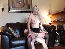 Amateur Wife Fucks Her Husband On The Couch.