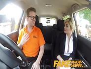 Fake Driving School Posh Horny Busty Examiner Swallows A Big Loa