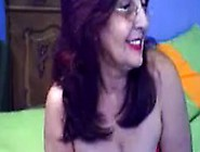 Red Underpants And Bra On Old Fat Granny On Webcam Skype