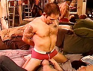 Cbt Squeezing Hairy Chested Muscled Dude's Balls Through His