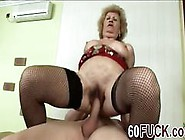 Busty Blonde Granny In Stockings Fingering Her Twat Then Rides H