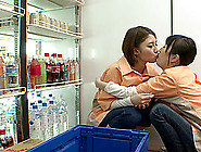 Asian Grocery Store Workers Have Lesbian Sex At Work