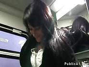 Dark Haired Amateur Fucked In Train In Public