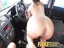 Great Looking Babes Are Fucking In The Car And Using A Strap- On