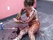 Horny Bitch Gets Covered In Whip Cream And Chocolate Syrup Video