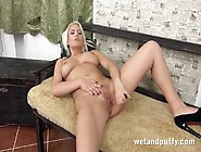 Busty Bleach Blonde Girl Fucks Her Cunt With A Toy