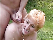 Tall Redhead German Mature Fucked In The Grass