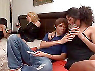 Horny Teen Boy Has A Threesome With Trannies