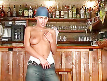 Very Horny Solo Model Stuffs Her Cunt With A Toy On The Bar