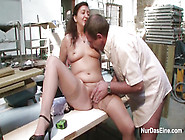 Amateur German Mature Riding Willy Of Electric Welder