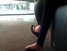 Candid Great Feet In Flip Flops At Mall