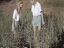 2 Girl Scouts In Field Fantasy