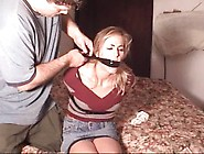 Amateur Blonde Zipped Tied And Gagged In Jeans Skirt And Boots