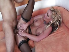 Title: Chic Blond In Nylons Screwed And Acquires A Snatch Ejaculation