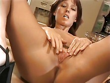 Lonely Wife Masturbates In The Kitchen