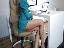 Long Legged Secretary Bored At The Office..
