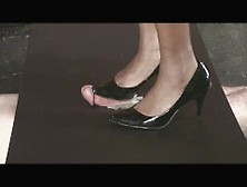Cock And Balls Trampling By Black Heeled Pumps