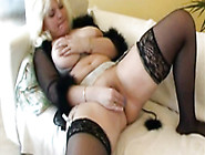 Fat House Wife In Panty Hose Plays With New Sex Vibrator