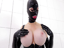Latex Lucy Gets Stuffed With An Extreme Dildo