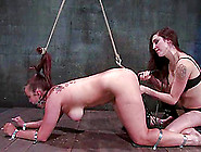 Torturing A Girl By Toying Her Pussy While She's Tied Up In Lesb