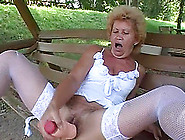 A Crazy Granny Buries A Massive Toy In Her Hairy Hole
