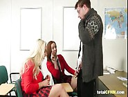 Hot Schoolgirls Stroking Teacher's Cock
