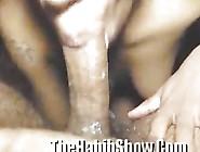 Ebony Slut Deep Throats Cock And Swallows Cum