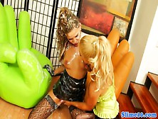 Bukkake Lesbian Pussyfucked With Strapon Cock