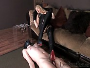 Mistress Crushes His Penis With Her Boots