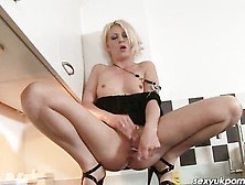 Gorgeous Uk Blonde Cyprus Isles Has Solo Fun In The Kitchen