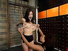 Cute Brunette Gets Her Tits Pinched And Her Vag Fucked With A St