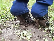 Ultra High Heels Bend And Stuck In Mud