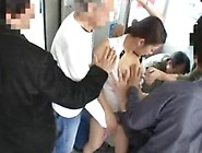 Japanese Wife Group Fucked On The Busy Bus