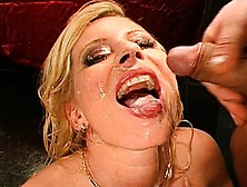 These Skanky Blonde Babes Enjoy Swallowing And Swapping Hot Cum