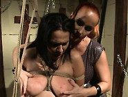 Mistress Ties Up Her Hot,  Busty Slave And Tortures And Strapon F