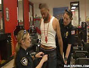 Two Sex-Hungry Bitches In Cop Uniform Fuck One Arrested Black St