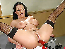 Fantastic Brunette Angelica Sin Plays With A Sex Machine In A Cl