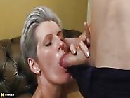 Horny Granny Gobbles Up His Cock Like Mad
