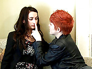 Redheaded Dyke Straps On A Cock And Fucks A Skinny Lesbian