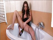 Brunette Sticking A Bottle In Her Asshole And Pussy