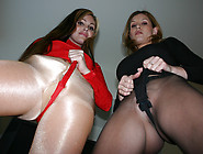 Jesse Capelli And Jamie Lynn Teases In Tight Shiny Pantyhose