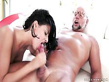 Brunette Slut Sucks And Fucks Older Guy On The Sofa
