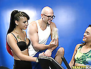 Three Sexy Sport Girls And One Fitness Instructor