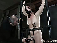 Slender Dissolute Bitch With Clips On Her Nipples Is Tortured
