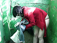 Brunette Girl In Jeans Gets A Small Puddle Of Piss