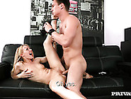 Skinny Blond Cutie In Heeled Shoes Gets Doggy Attacked Hard