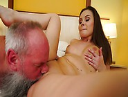 Grandpa Is Fucking A Hot Little Slutty Teen On The Bed Today