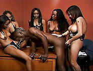 Ebony Girls Gangbang Guy With Their Strap On's