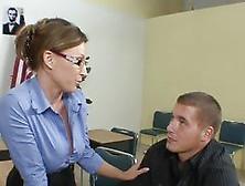 Sexy Teacher Stuffed On Her Own Desk